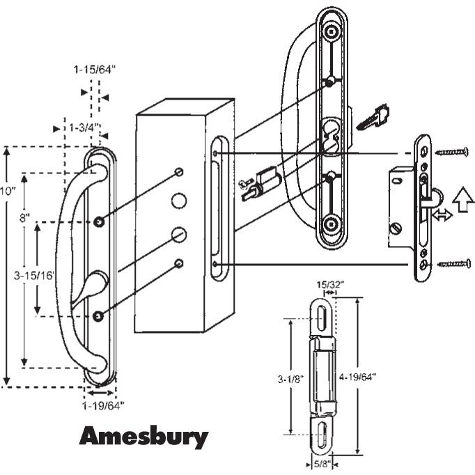 Amesbury Amesbury Handle Patio Door Black With Key