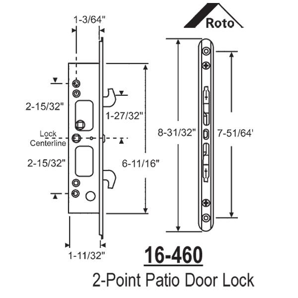 Interlock Interlock Roto 2 Point Mortise Lock 16 460