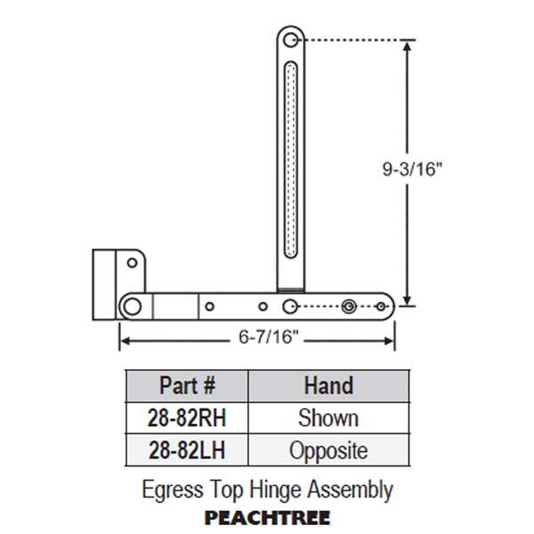 Egress Top Hinge Assembly 28-82RH