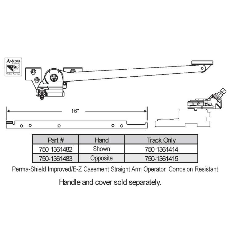 Andersen Track Casement Operator 750 1361414 750 1361414