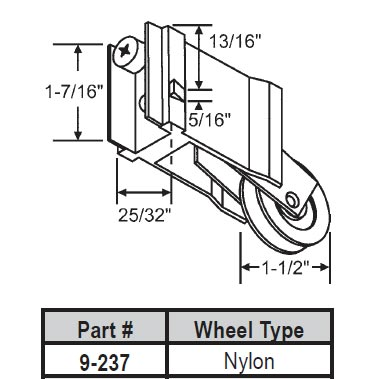 Wallace Patio Door Roller 9 237