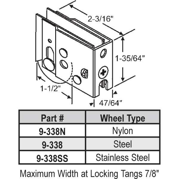 Harcar Patio Door Roller 9 338n