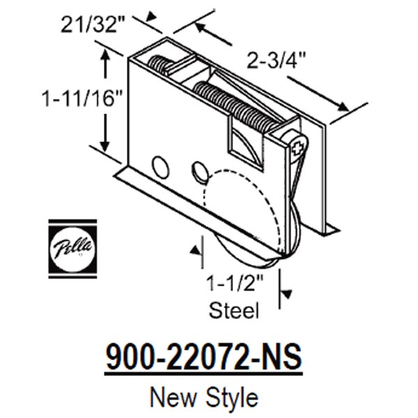 Pella Pella Patio Door Roller 900 22072 Ns