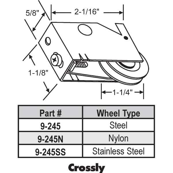 Crossly Patio Door Roller 9 245