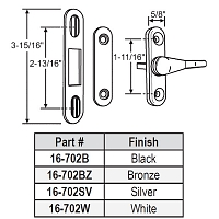 French Door Turn Latch PGT 16-702B