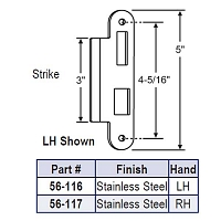 LH Latch-Deadbolt Strike 56-116