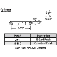Sash Hook for Lever Operator 39-1cg