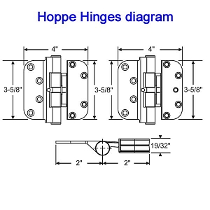 Hoppe Left Hand Set Hinge 850-2972410 3