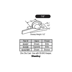 Sweep and Sash locks 50-637 2