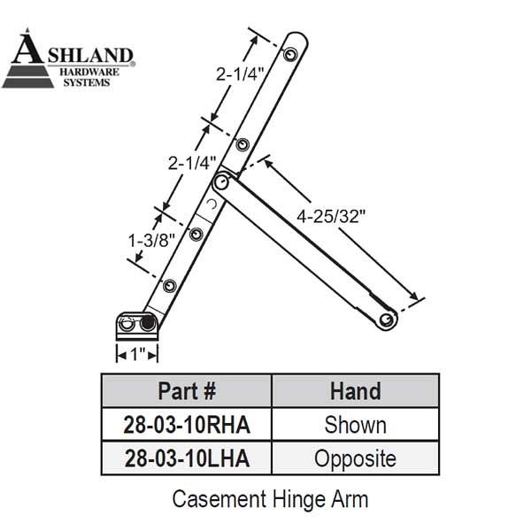 Ashland Casement Hinge Arm 28-03-10ss-LHA 1