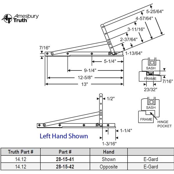 Truth Egress Hinge Hand Shown 28-15-48 1