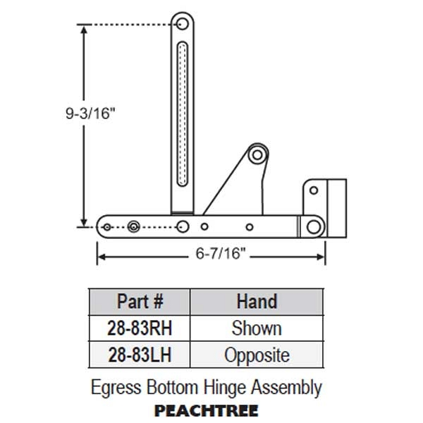 Egress Bottom Hinge Assembly 28-83LH 1