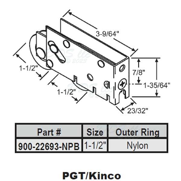 Pgt Tandem Nylon Precision Bearing Patio Door Roller