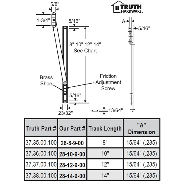 14 inch  Friction Adjuster 28-14-9-00 1