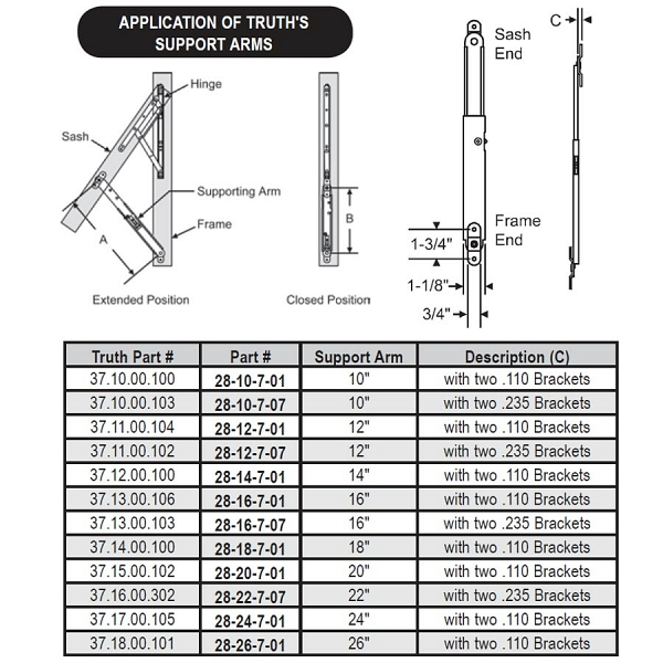 16 inch Support Arm .110 Brackets 28-16-7-01 1