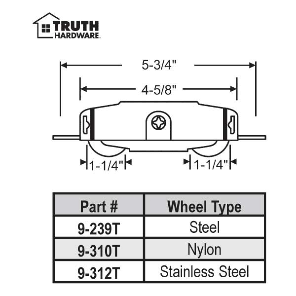Truth Tandem Patio Door Roller 9-239T 1