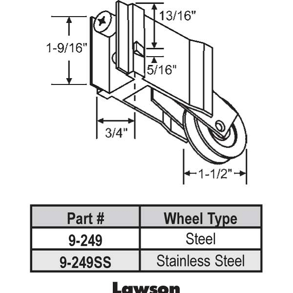 Lawson Patio Door Roller 9 249ss 9 249ss