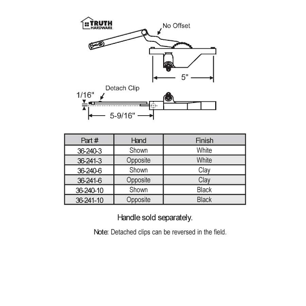 Rear Mount Casement Operators 36-240-3 2