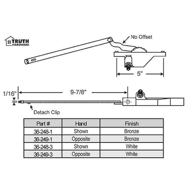 Rear Mount Casement Operator 36-249-1 1