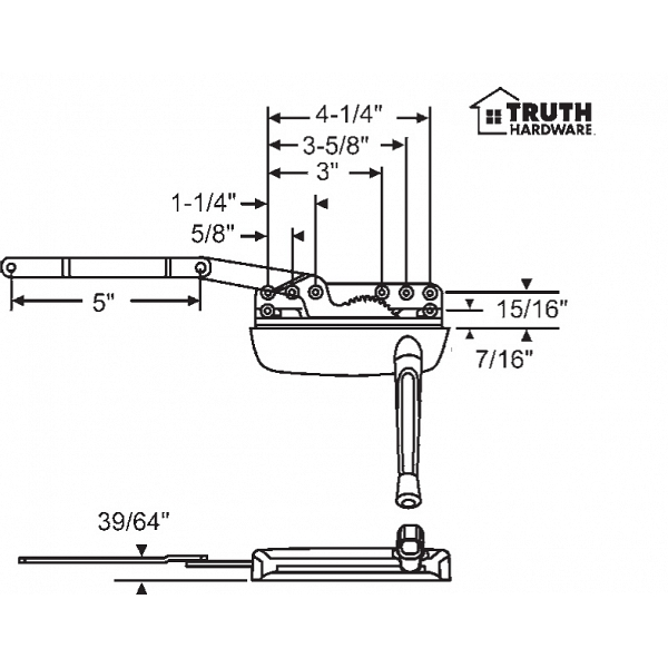 Sill Mounted Casement Operator 36-372-3 1