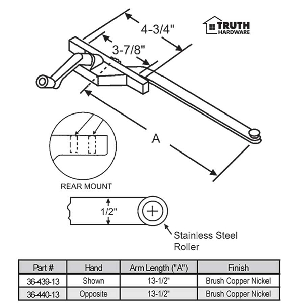 Rear Mount Casement Operator 36-439-13 1