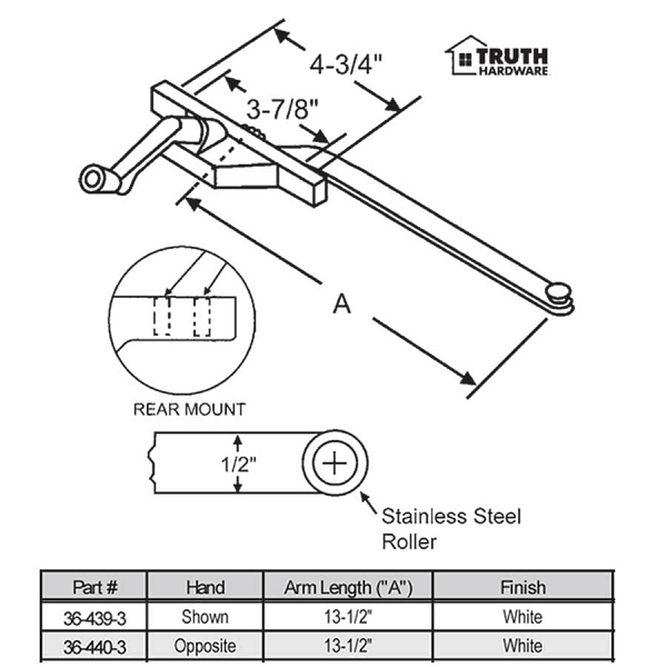 Rear Mount Casement Operator 36-439-3 1