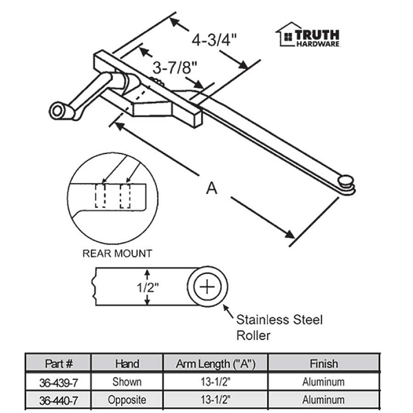 Rear Mount Casement Operator 36-440-7 1