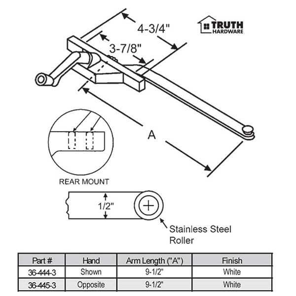 Rear Mount Casement Operator 36-444-3 1