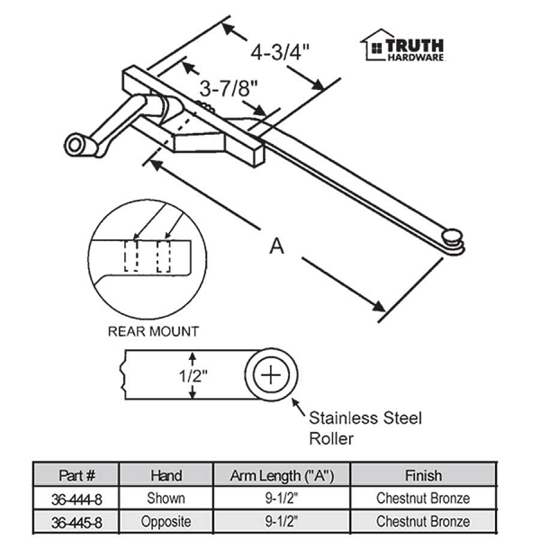 Rear Mount Casement Operator 36-445-8 1