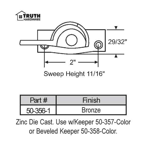 Sweep and Sash lock 50-356-1 1