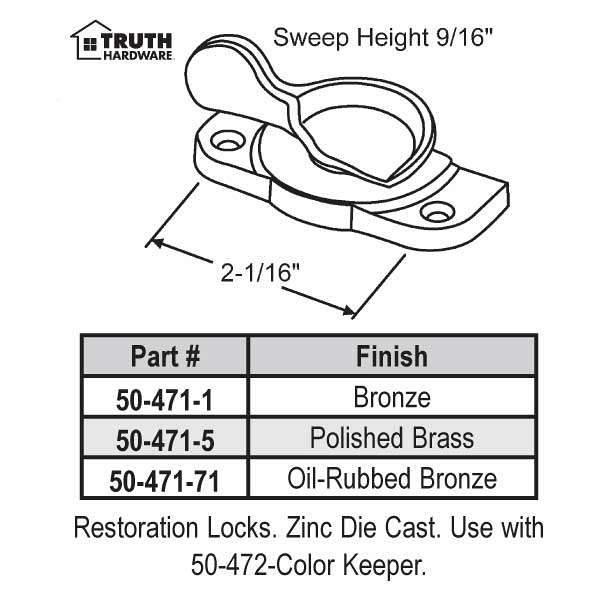 Sweep and Sash lock 50-471-1 1