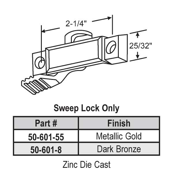 Sweep and Sash lock 50-601-55 1