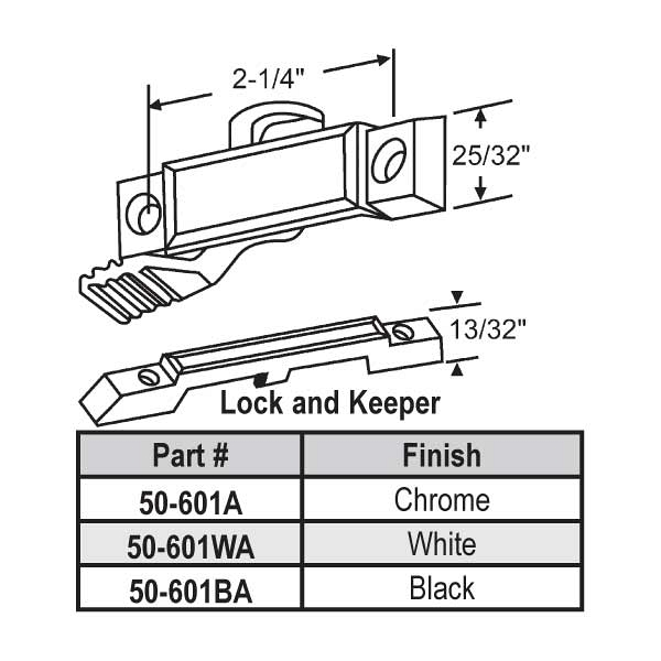 Sweep and Sash lock 50-601A 1