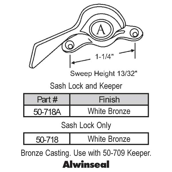 Sweep and Sash locks 50-718 1