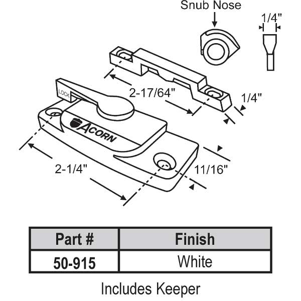 Sweep and Sash lock 50-915 1