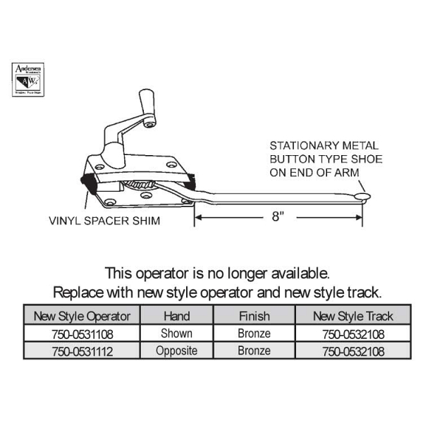 Sill Mounted Casement Operator 750-0531108 1