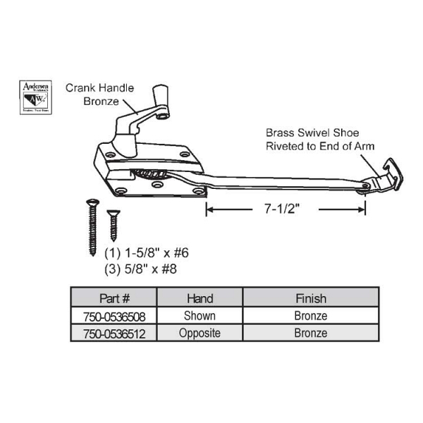 Sill Mounted Casement Operator 750-0536512 1