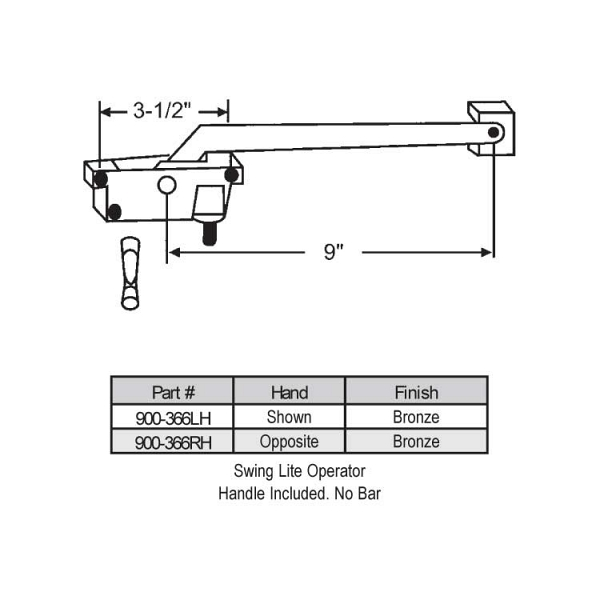 Sill Mounted Casement Operator 900-366LH 1
