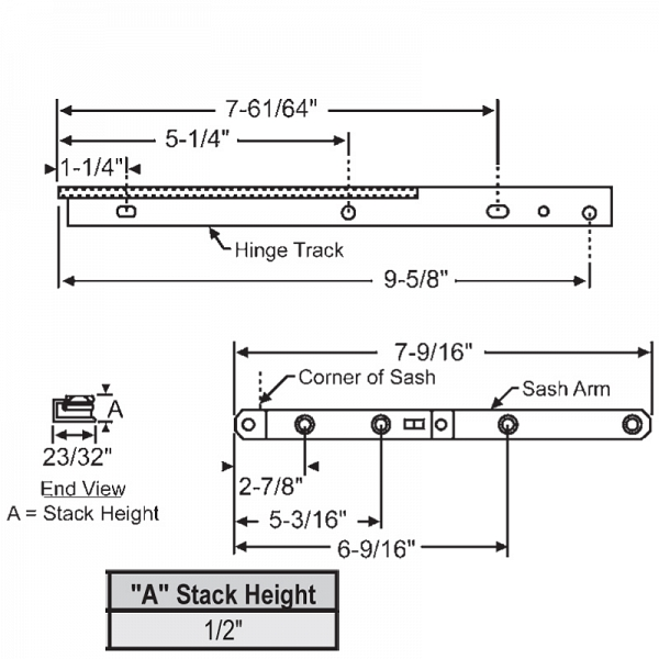10inch Casement Hinge Arm - Track 28-10-23 1