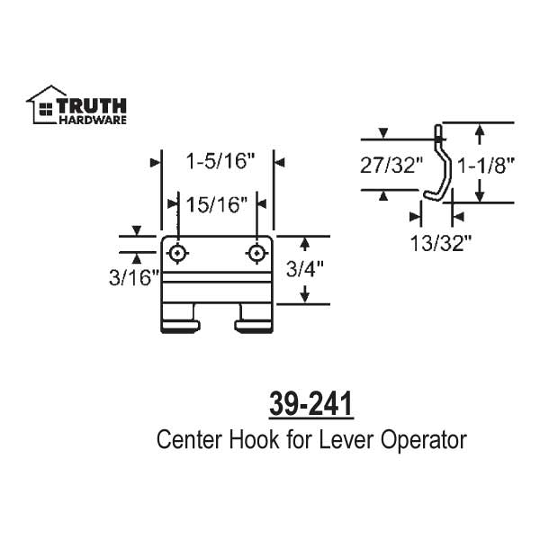 Center Hook for Lever Operator 39-241 1