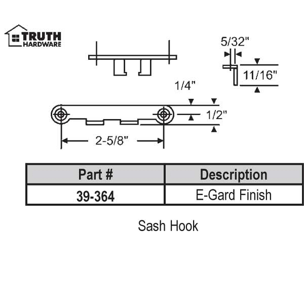 Sash Hook for Lever Operator 39-364 1
