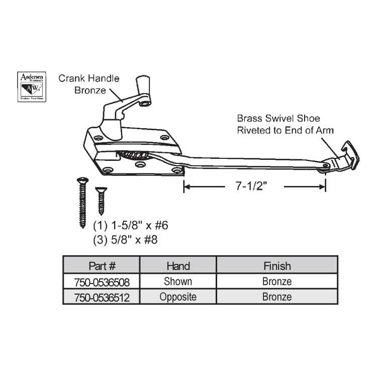 Andersen Sill Mounted Casement Operator 750 0536508