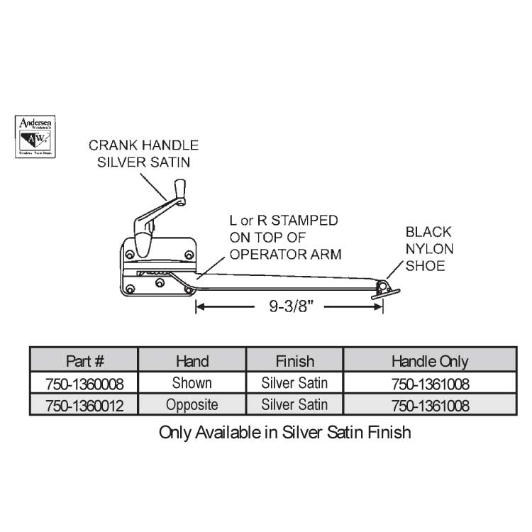 Andersen Sill Mounted Casement Operator 750 1360008