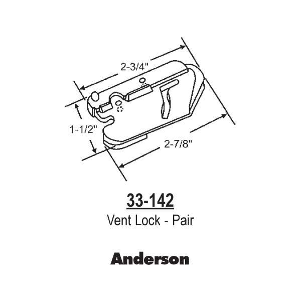 Andersen Anderson Vent Lock Pairs 33 142 33 142