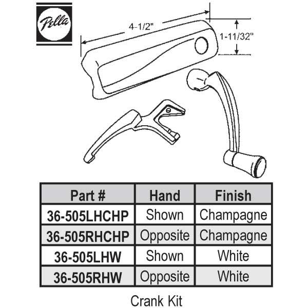 Pella Lh Pella Crank Kit 36 505lhchp 36 505lhchp
