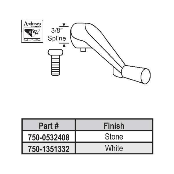 Andersen Stone Casement Crank 750 0532408 750 0532408